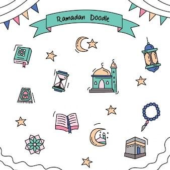 Doodle de couleur de contour de ramadan