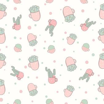 Doodle de couleur pastel modèle sans couture cactus
