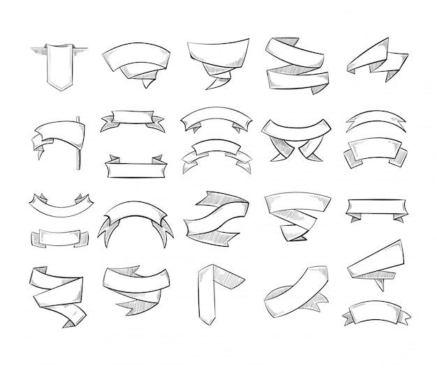 Doodle crayon dessin rubans et bannières de vecteur