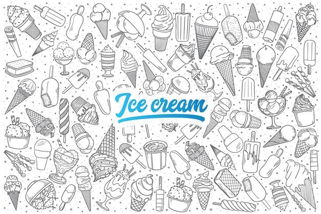 Doodle de crème glacée dessiné à la main mis en arrière-plan avec lettrage bleu