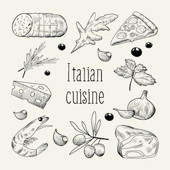Doodle de croquis de cuisine italienne