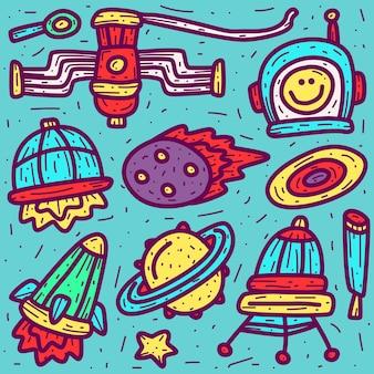 Doodle de dessin animé astronaute