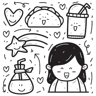 Doodle de dessin animé kawaii dessiné à la main