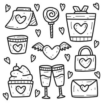 Doodle De Dessin Animé Kawaii Valentine Vecteur Premium