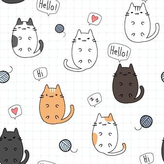 Doodle de dessin animé mignon chat chaton avec motif sans soudure de grille