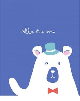 Doodle dessin animé ours illustration avec slogan