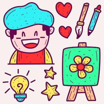 Doodle de dessin animé de peintre