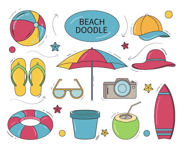 Doodle de dessin animé de plage dessiné à la main