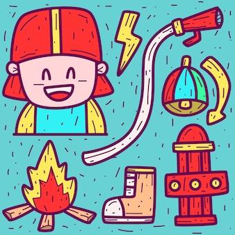 Doodle de dessin animé de pompier