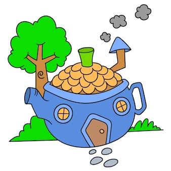 Doodle dessin animé théière en forme de maison bleue, doodle dessiner kawaii. illustration vectorielle