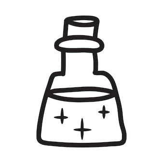 Doodle dessin vectoriel de bouteille avec une potion magique. parfait pour les cartes, les autocollants et les impressions. illustration dessinée à la main pour la décoration et le design.