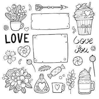 Doodle dessiné à la main amour, saint valentin, fête des mères, mariage