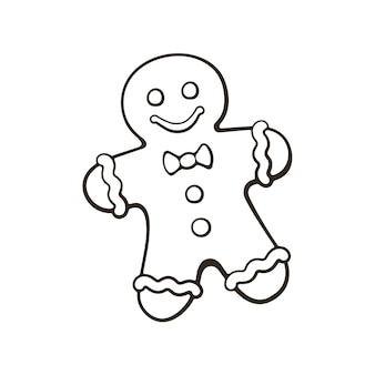 Doodle dessiné main de biscuits de noël gingerbread manvector illustration