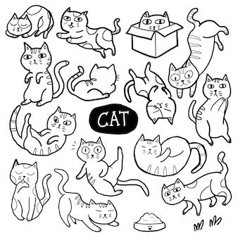 Doodle dessiné à la main de chat