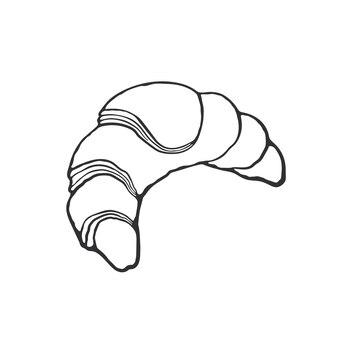 Doodle dessiné main de croissant de petit-déjeuner français traditionnel illustration vectorielle