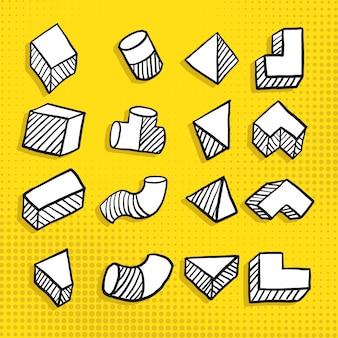 Doodle dessiné à la main forme géométrique simple