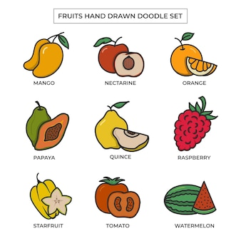 Doodle dessiné à la main de fruits sertie de couleur plate