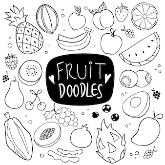 Doodle dessiné main fruits