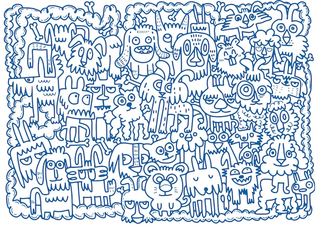 Doodle dessiné à la main funny dogs set
