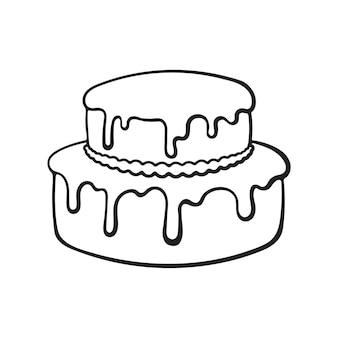 Doodle dessiné main de gâteau à la crème à deux niveaux avec glaçage croquis de dessin animé illustration vectorielle