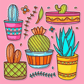 Doodle dessiné main d'icône de cactus autocollant