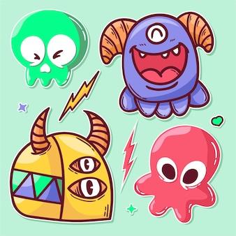 Doodle dessiné main d'icône de monstres autocollant