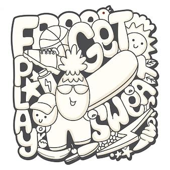 Doodle dessiné main mignon