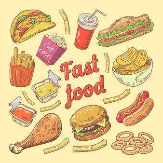 Doodle dessiné à la main de restauration rapide avec hamburger et frites