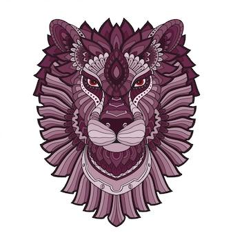 Doodle dessiné à la main zentangle lion illustration-vecteur.