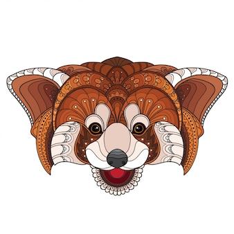 Doodle dessiné à la main zentangle panda rouge illustration-vecteur
