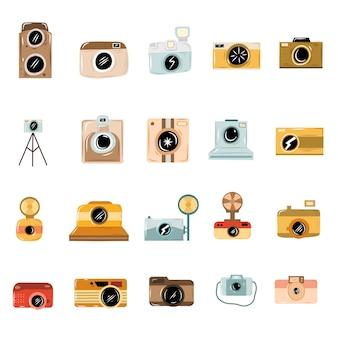 Doodle dessinés à la main d'icônes de caméra