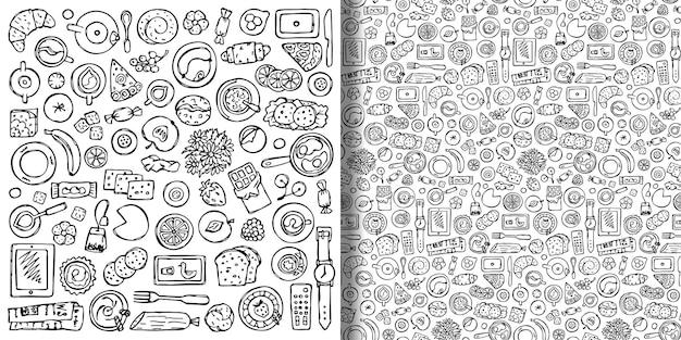 Doodle dessinés à la main impression de petit-déjeuner et ensemble de motifs sans couture boissons alimentaires et équipement de cuisine