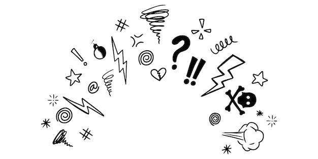 Doodle dessinés à la main jurer isolé sur fond blanc. définir des éléments, pour la conception. illustration vectorielle.