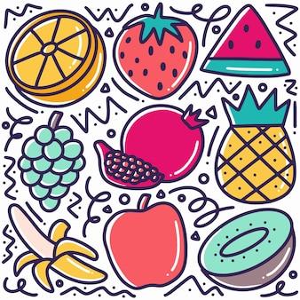 Doodle divers fruits collection dessin à la main avec des icônes et des éléments de conception