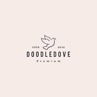 Doodle dove logo icône illustration vectorielle