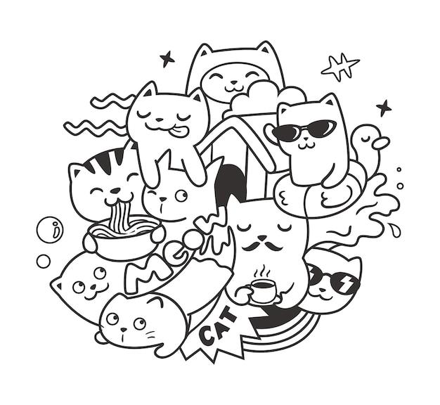 Doodle drôle de chats à colorier