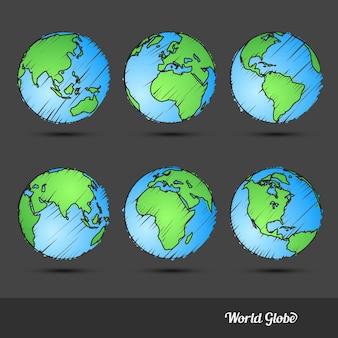 Doodle du globe du monde