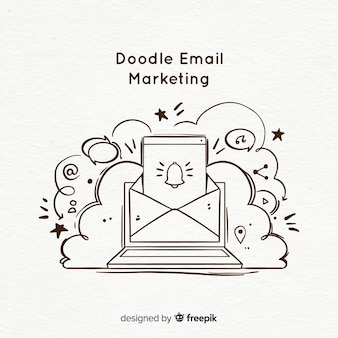 Doodle Email Marketing Vecteur Premium