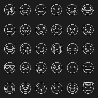 Doodle émoticônes blanches avec différentes émotions sur fond noir vecteur ensemble de diverses illustrations dessiné