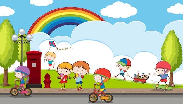 Doodle enfants jouant au terrain de jeu