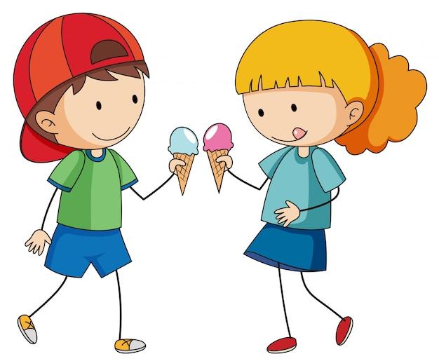 Doodle enfants mangeant des glaces