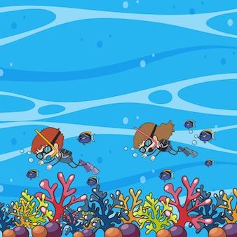 Doodle enfants plongée sous-marine