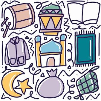 Doodle ensemble de dessin à la main du jour du ramadan avec des icônes et des éléments de conception