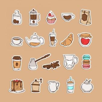 Doodle ensemble d'icônes de café et thé isolé sur fond blanc: moulin, haricots, miel, frappe, café à emporter, théière, cannelle, lait, croissant, macarons, gâteau, crêpes, milkshake. autocollants