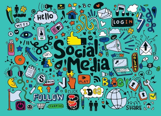 Doodle ensemble d'objets et de symboles sur les médias sociaux