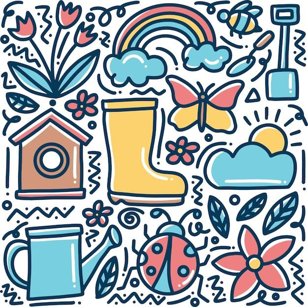 Doodle ensemble de printemps dessiné à la main avec des icônes et des éléments de conception