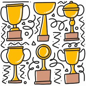 Doodle ensemble de trophées tasses dessin à la main avec des icônes et des éléments de conception