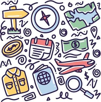 Doodle ensemble de vacances dessin à la main avec des icônes et des éléments de conception
