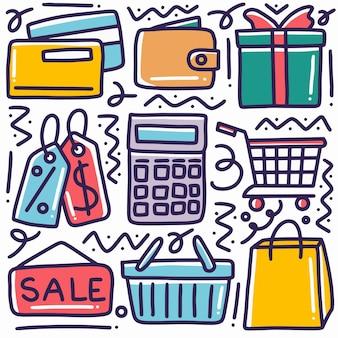 Doodle ensemble de vente dessinés à la main et achats à rabais avec des icônes et des éléments de conception
