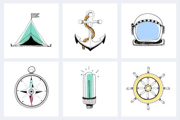 Doodle d'équipement d'exploration marine